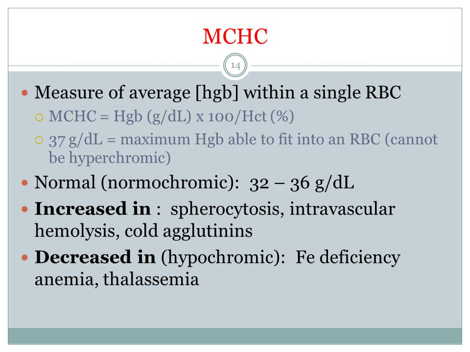 MCHC Measure of average [hgb] within a single RBC